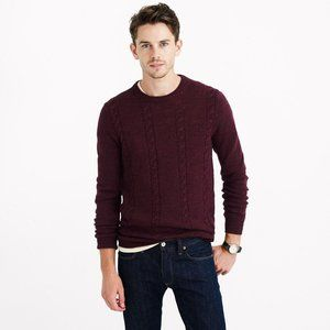 J Crew Burgundy Rustic Elbow Patch Wool Sweater